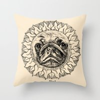astronomy Throw Pillows featuring Astronomy Pug by beart24