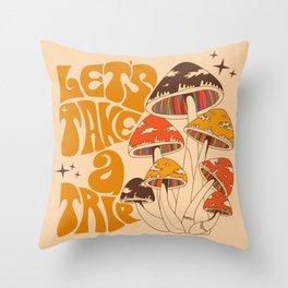 70s Mushroom, Take A Trip, Hippie Boho Throw Pillow