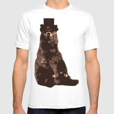 Bear in Hat MEDIUM Mens Fitted Tee White