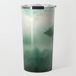 Mystical Forests - Forest tapestry, atmospheric tapestry, foggy forest, relaxing forest, green Travel Mug