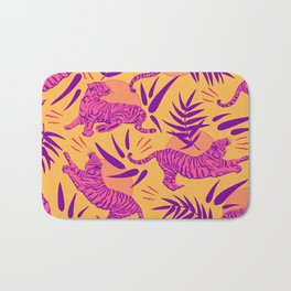 Tigers and Bamboos in Pink and Yellow Bath Mat