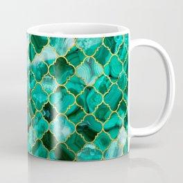Quatrefoil Moroccan Pattern Green Malachite and gold Coffee Mug