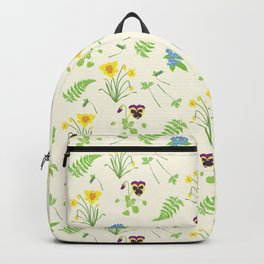 Spring Flowers and Ferns Illustrated Pattern Print Backpack