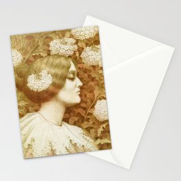 Autumn Woman, art nouveau drawing Paul Berthon 1900 Stationery Cards