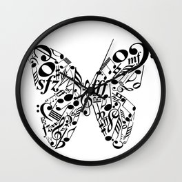Music butterfly Wall Clock