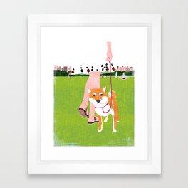 Shiba inu in Central Park Framed Art Print