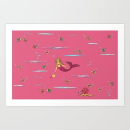 Fashionable mermaid - pink Art Print
