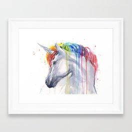 Rainbow Unicorn Watercolor Framed Art Print