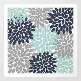 Flower Burst Navy Aqua Gray Flower Petals Design Art Print