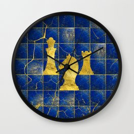 Lapis Lazuli Chessboard and Gold Chess Pieces Wall Clock
