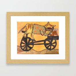 cat just went to the market Framed Art Print