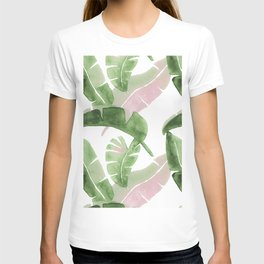 Tropical Leaves Green And Pink T-shirt