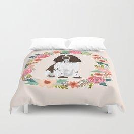 english springer spaniel dog floral wreath dog gifts pet portraits Duvet Cover