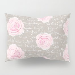 Watercolor roses on Taupe with French script Pillow Sham