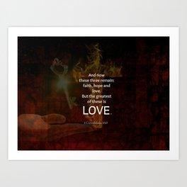 1 Corinthians 13:13 Bible Verses Quote About LOVE Art Print