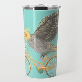 Cockatiel on a Bicycle Travel Mug