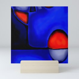 Abstraction in Lapis and Red Mini Art Print
