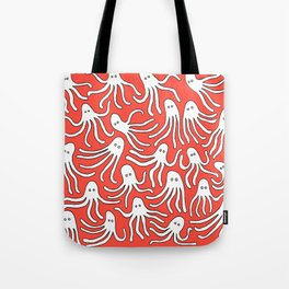 A Party of Handicapped Octopi III - Red-isch Tote Bag