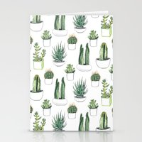 succulents Stationery Cards featuring watercolour cacti and succulent by Vicky Webb