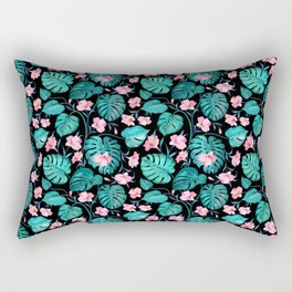 Tropical teal pink black vector floral pattern Rectangular Pillow