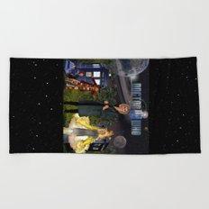 1th Doctor, 4th Doctor, Sarah Jane, K-9 Beach Towel