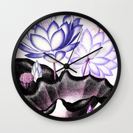 Pink Gray Lavender Sacred Egyptian Bean Temple of Flora Wall Clock