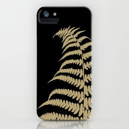 Fern Leaf Gold on Black #1 #ornamental #decor #art #society6 iPhone Case