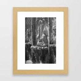 Terracotta Fountain in Black and White Framed Art Print