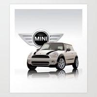 mini cooper Art Prints featuring Mini White Cooper by McGrathDesigns
