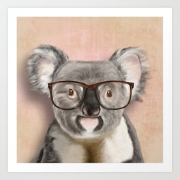 Funny koala with glasses Art Print