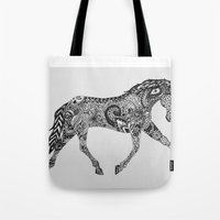 lee pace Tote Bags featuring Paisley Pace by Caballos of Colour