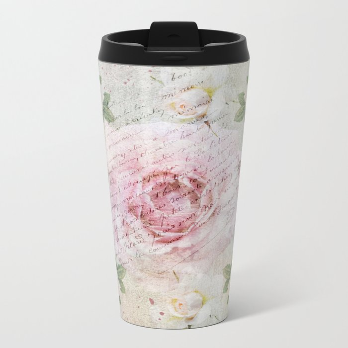 Romantic vintage roses and French handwriting Metal Travel Mug