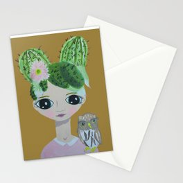 ~ Cactus Hair Clementine & Pygmy Owl ~10 year old Artist Amelia Milly Moo Stationery Cards
