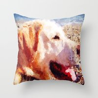 jake Throw Pillows featuring Jake by Vix Edwards - Fugly Manor Art