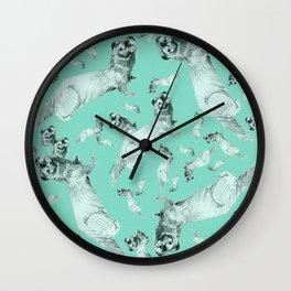 Mink in Bleu (pattern) Wall Clock