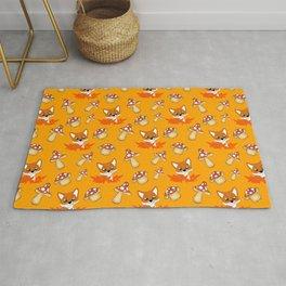 Cute pretty little foxes, red leaves, wild mushrooms bright orange nursery pattern design Rug