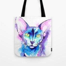 Oriental Cat Watercolor Tote Bag