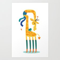 The bird and the giraffe Art Print