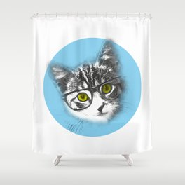 Little Cat with glasses Shower Curtain