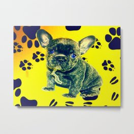 Frenchie Paw Print Metal Print