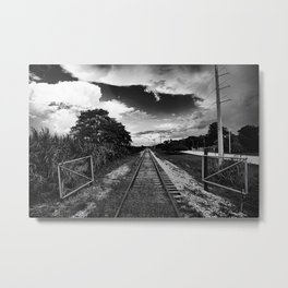 Lake Train Tracks Metal Print