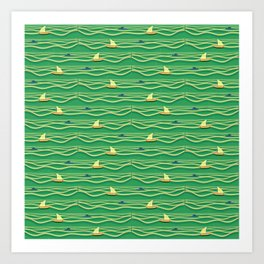 Sailing pattern 1b Art Print