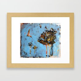 Swallows flying low before the rain Framed Art Print