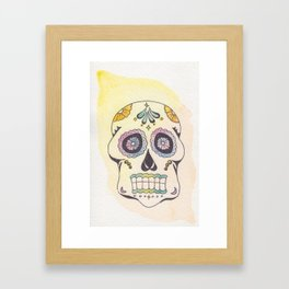 Watercolor Skull in Sun Framed Art Print