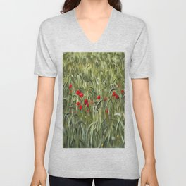 Cornfield Poppy Landscape Unisex V-Neck