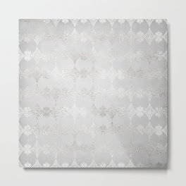 Metallic Silver Geometric Metal Print