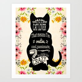 Crazy Cat Lover Typography Art Print