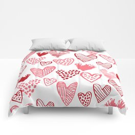 Hearts red and white hand drawn minimal modern fun valentines day gifts Comforters