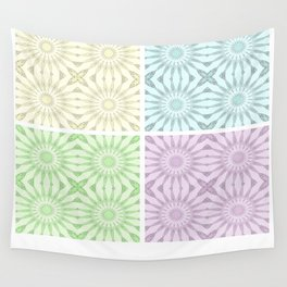 Pastel Pinwheel Flowers Panel Art Wall Tapestry