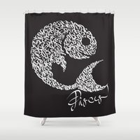 pisces Shower Curtains featuring pisces by freebornline